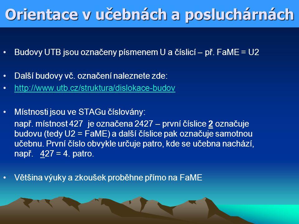 Orientace v učebnách a posluchárnách Budovy UTB jsou označeny písmenem U a číslicí – př. FaME = U2 Další budovy vč. označení naleznete zde: http://www