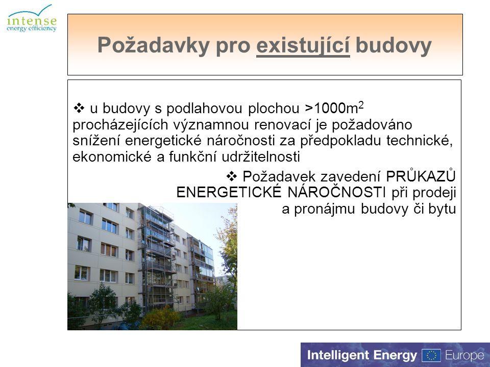 Požadavky pro existující budovy  u budovy s podlahovou plochou >1000m 2 procházejících významnou renovací je požadováno snížení energetické náročnosti za předpokladu technické, ekonomické a funkční udržitelnosti  Požadavek zavedení PRŮKAZŮ ENERGETICKÉ NÁROČNOSTI při prodeji a pronájmu budovy či bytu