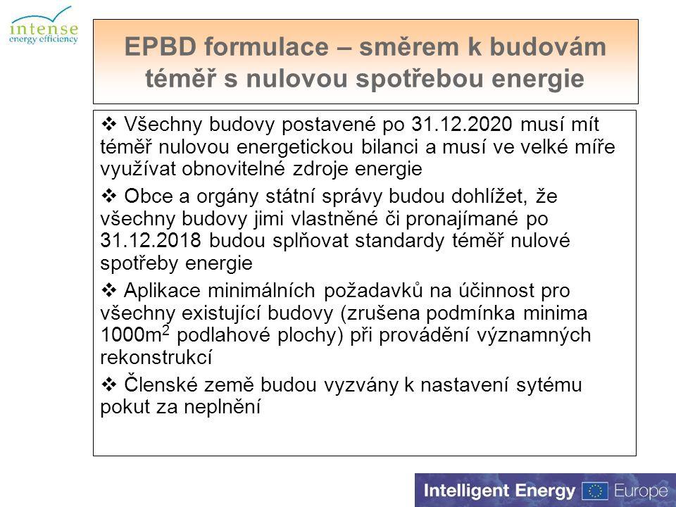 EPBD formulace – směrem k budovám téměř s nulovou spotřebou energie  Všechny budovy postavené po 31.12.2020 musí mít téměř nulovou energetickou bilanci a musí ve velké míře využívat obnovitelné zdroje energie  Obce a orgány státní správy budou dohlížet, že všechny budovy jimi vlastněné či pronajímané po 31.12.2018 budou splňovat standardy téměř nulové spotřeby energie  Aplikace minimálních požadavků na účinnost pro všechny existující budovy (zrušena podmínka minima 1000m 2 podlahové plochy) při provádění významných rekonstrukcí  Členské země budou vyzvány k nastavení sytému pokut za neplnění