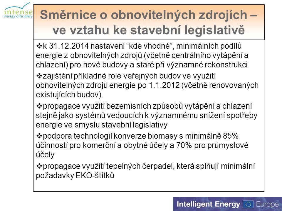Směrnice o obnovitelných zdrojích – ve vztahu ke stavební legislativě  k 31.12.2014 nastavení kde vhodné , minimálních podílů energie z obnovitelných zdrojů (včetně centrálního vytápění a chlazení) pro nové budovy a staré při významné rekonstrukci  zajištění příkladné role veřejných budov ve využití obnovitelných zdrojů energie po 1.1.2012 (včetně renovovaných existujících budov).