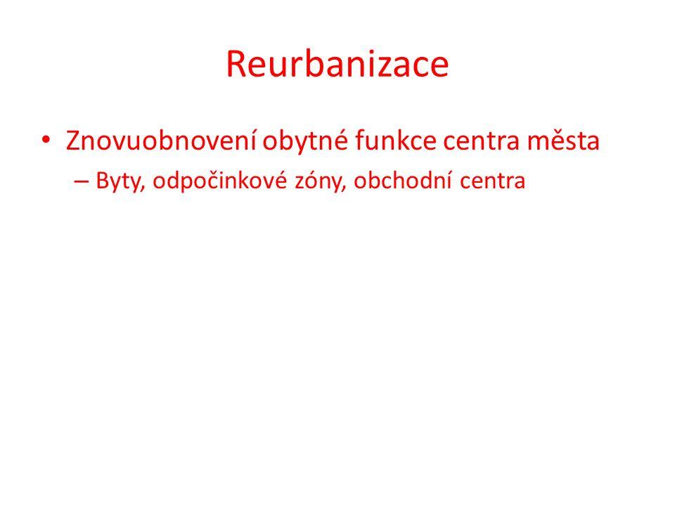 Reurbanizace Znovuobnovení obytné funkce centra města – Byty, odpočinkové zóny, obchodní centra
