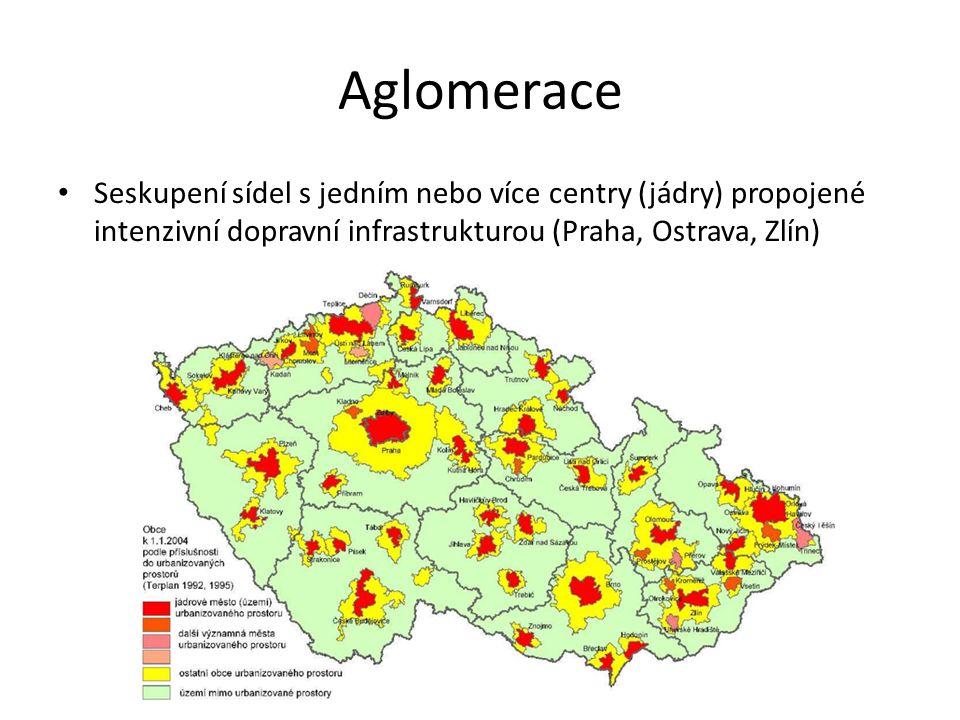 Aglomerace Seskupení sídel s jedním nebo více centry (jádry) propojené intenzivní dopravní infrastrukturou (Praha, Ostrava, Zlín)
