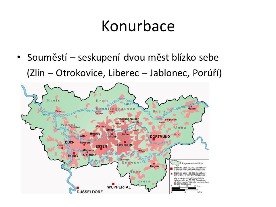 Konurbace Souměstí – seskupení dvou měst blízko sebe (Zlín – Otrokovice, Liberec – Jablonec, Porúří)