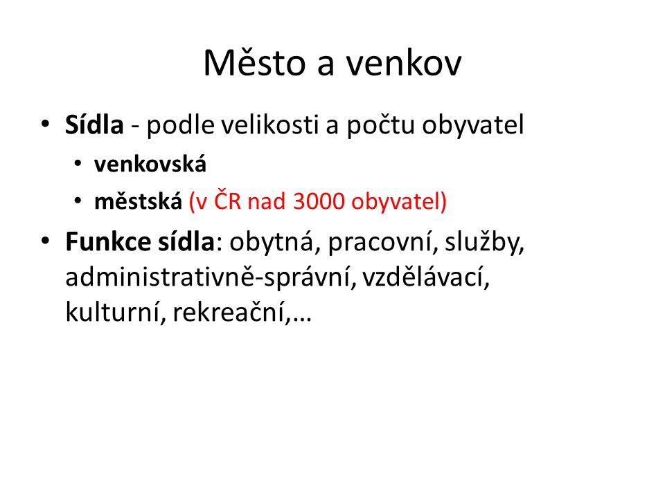 Město a venkov Sídla - podle velikosti a počtu obyvatel venkovská městská (v ČR nad 3000 obyvatel) Funkce sídla: obytná, pracovní, služby, administrat