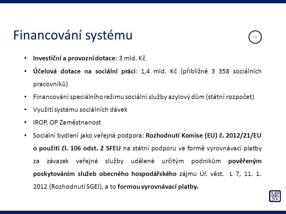 Investiční a provozní dotace: 3 mld. Kč Účelová dotace na sociální práci: 1,4 mld. Kč (přibližně 3 358 sociálních pracovníků) Financování speciálního