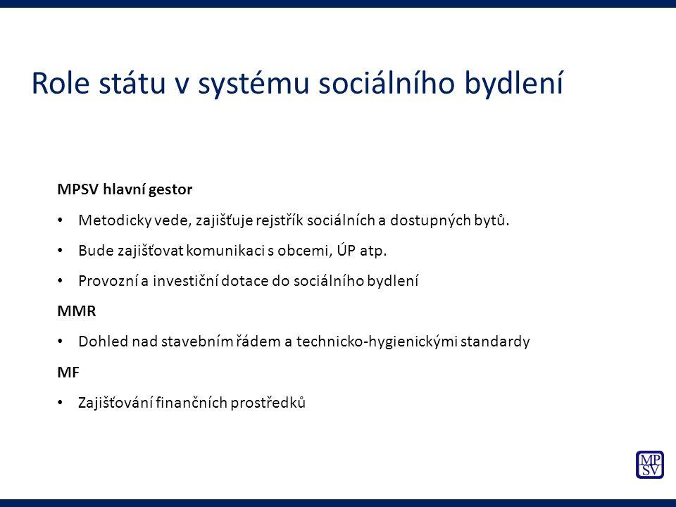 MPSV hlavní gestor Metodicky vede, zajišťuje rejstřík sociálních a dostupných bytů. Bude zajišťovat komunikaci s obcemi, ÚP atp. Provozní a investiční