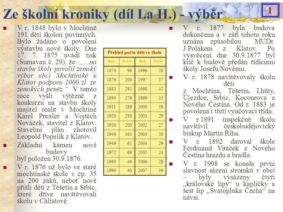 Ze školní kroniky (díl I.a II.) - výběr V r.