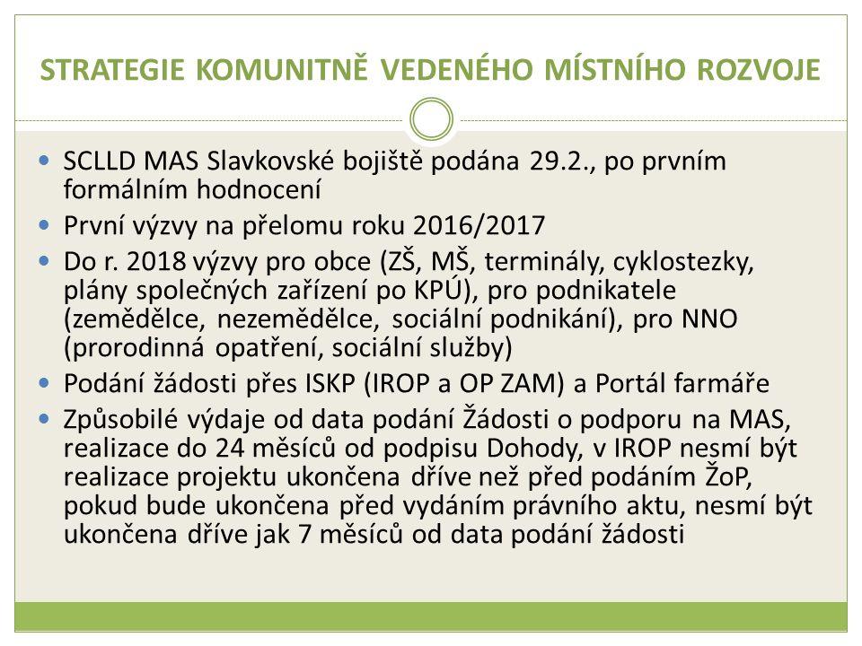 STRATEGIE KOMUNITNĚ VEDENÉHO MÍSTNÍHO ROZVOJE SCLLD MAS Slavkovské bojiště podána 29.2., po prvním formálním hodnocení První výzvy na přelomu roku 2016/2017 Do r.