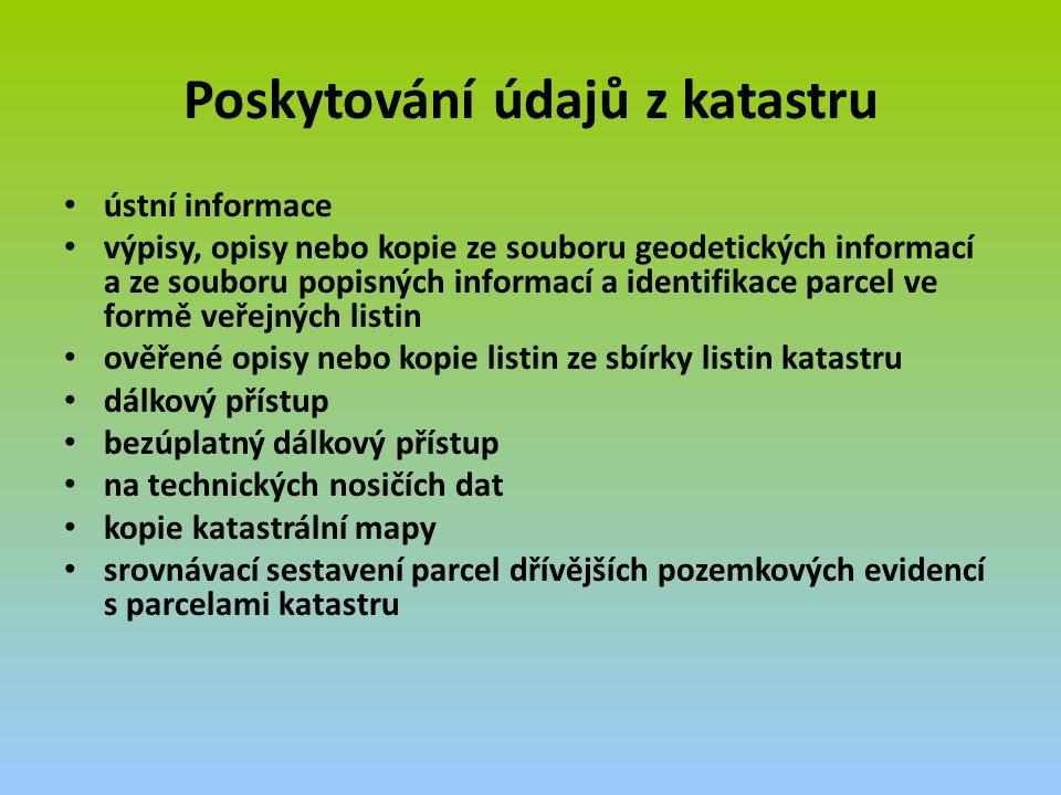 Poskytování údajů z katastru ústní informace výpisy, opisy nebo kopie ze souboru geodetických informací a ze souboru popisných informací a identifikace parcel ve formě veřejných listin ověřené opisy nebo kopie listin ze sbírky listin katastru dálkový přístup bezúplatný dálkový přístup na technických nosičích dat kopie katastrální mapy srovnávací sestavení parcel dřívějších pozemkových evidencí s parcelami katastru