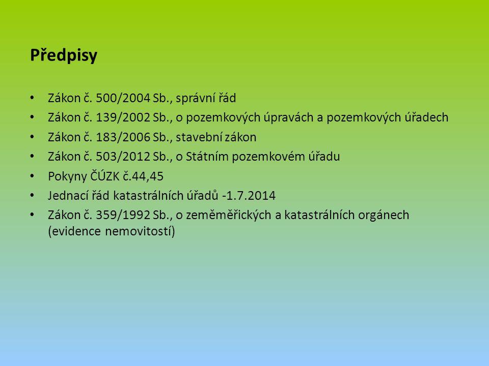 Předpisy Zákon č. 500/2004 Sb., správní řád Zákon č.
