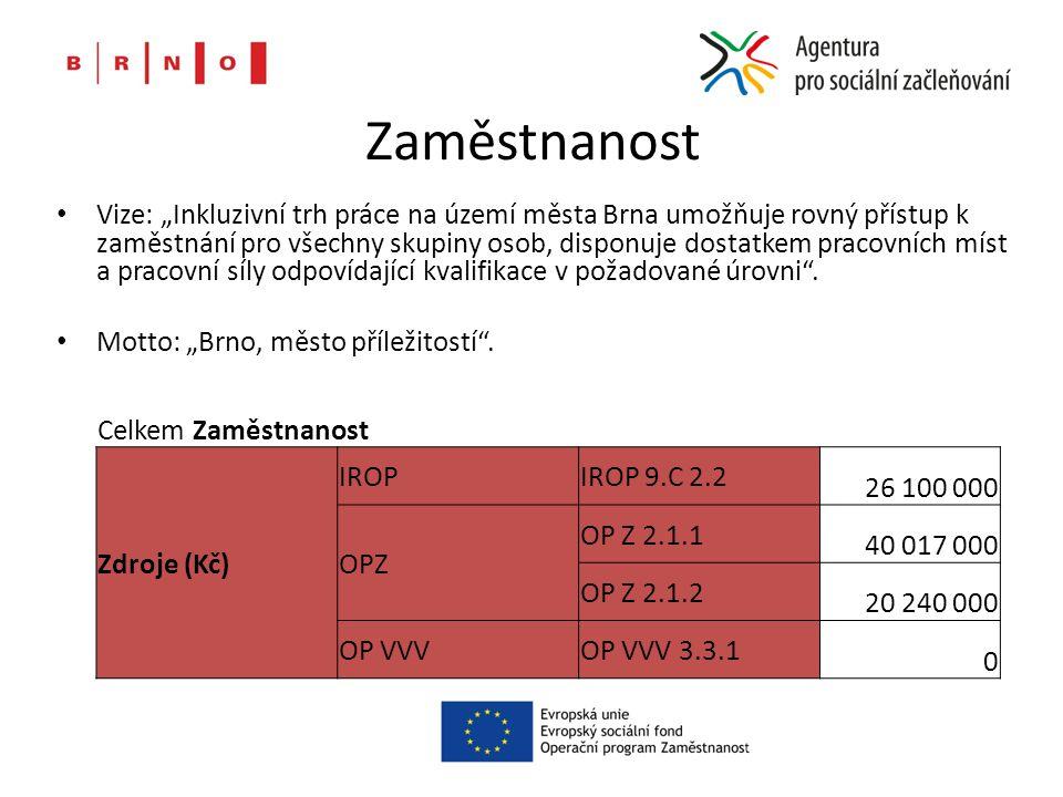 """Zaměstnanost Vize: """"Inkluzivní trh práce na území města Brna umožňuje rovný přístup k zaměstnání pro všechny skupiny osob, disponuje dostatkem pracovních míst a pracovní síly odpovídající kvalifikace v požadované úrovni ."""