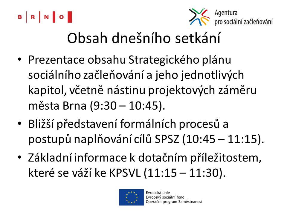 Obsah dnešního setkání Prezentace obsahu Strategického plánu sociálního začleňování a jeho jednotlivých kapitol, včetně nástinu projektových záměru města Brna (9:30 – 10:45).