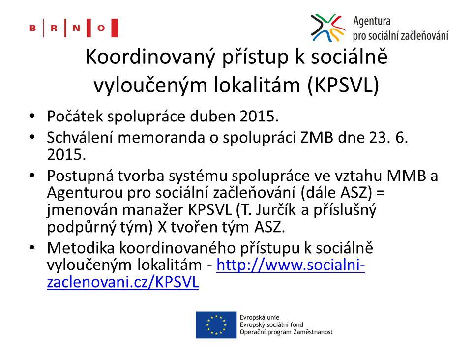 Koordinovaný přístup k sociálně vyloučeným lokalitám (KPSVL) Počátek spolupráce duben 2015.