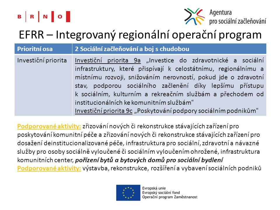 """EFRR – Integrovaný regionální operační program Prioritní osa2 Sociální začleňování a boj s chudobou Investiční prioritaInvestiční priorita 9a """"Investice do zdravotnické a sociální infrastruktury, které přispívají k celostátnímu, regionálnímu a místnímu rozvoji, snižováním nerovností, pokud jde o zdravotní stav, podporou sociálního začlenění díky lepšímu přístupu k sociálním, kulturním a rekreačním službám a přechodem od institucionálních ke komunitním službám Investiční priorita 9c """"Poskytování podpory sociálním podnikům Podporované aktivity: zřizování nových či rekonstrukce stávajících zařízení pro poskytování komunitní péče a zřizování nových či rekonstrukce stávajících zařízení pro dosažení deinstitucionalizované péče, infrastruktura pro sociální, zdravotní a návazné služby pro osoby sociálně vyloučené či sociálním vyloučením ohrožené, infrastruktura komunitních center, pořízení bytů a bytových domů pro sociální bydlení Podporované aktivity: výstavba, rekonstrukce, rozšíření a vybavení sociálních podniků"""