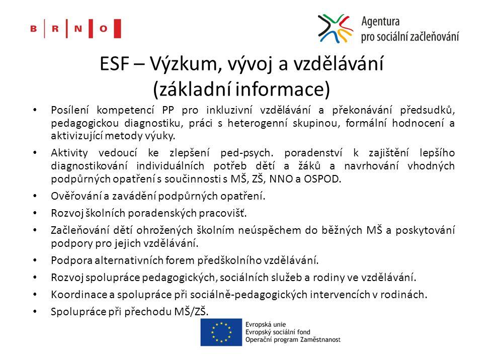 ESF – Výzkum, vývoj a vzdělávání (základní informace) Posílení kompetencí PP pro inkluzivní vzdělávání a překonávání předsudků, pedagogickou diagnostiku, práci s heterogenní skupinou, formální hodnocení a aktivizující metody výuky.