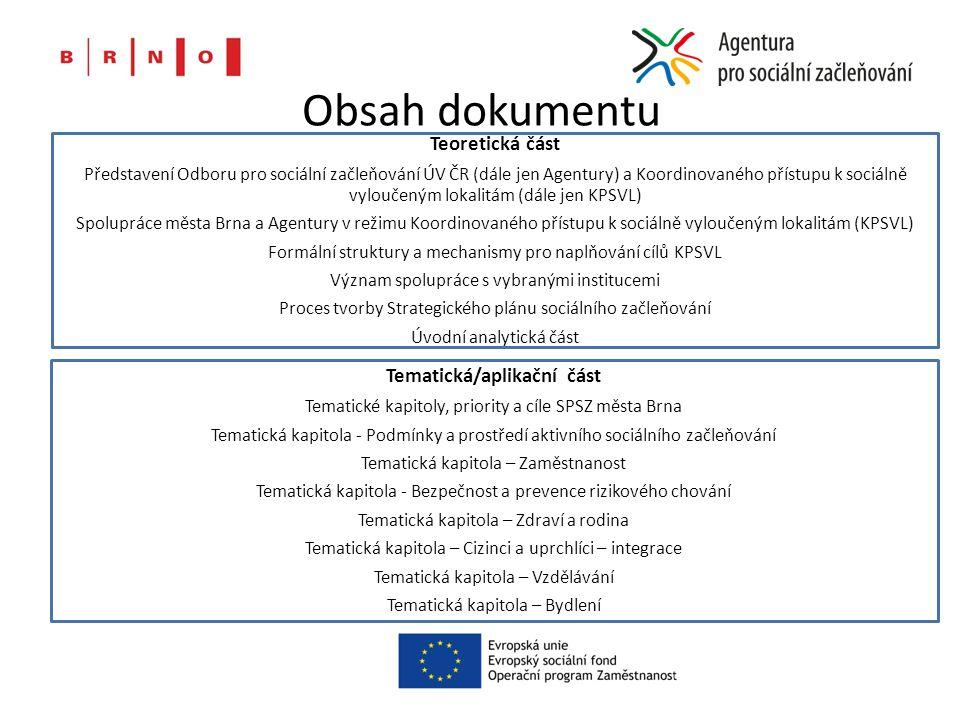 Obsah dokumentu Teoretická část Představení Odboru pro sociální začleňování ÚV ČR (dále jen Agentury) a Koordinovaného přístupu k sociálně vyloučeným lokalitám (dále jen KPSVL) Spolupráce města Brna a Agentury v režimu Koordinovaného přístupu k sociálně vyloučeným lokalitám (KPSVL) Formální struktury a mechanismy pro naplňování cílů KPSVL Význam spolupráce s vybranými institucemi Proces tvorby Strategického plánu sociálního začleňování Úvodní analytická část Tematická/aplikační část Tematické kapitoly, priority a cíle SPSZ města Brna Tematická kapitola - Podmínky a prostředí aktivního sociálního začleňování Tematická kapitola – Zaměstnanost Tematická kapitola - Bezpečnost a prevence rizikového chování Tematická kapitola – Zdraví a rodina Tematická kapitola – Cizinci a uprchlíci – integrace Tematická kapitola – Vzdělávání Tematická kapitola – Bydlení