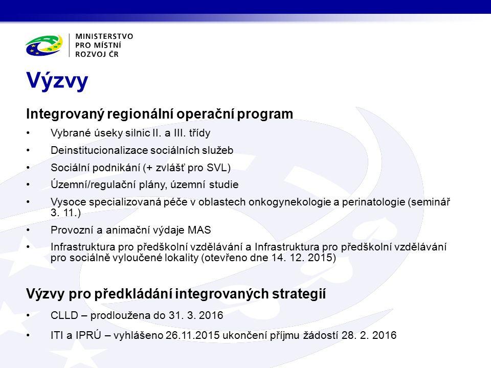 Integrovaný regionální operační program Vybrané úseky silnic II. a III. třídy Deinstitucionalizace sociálních služeb Sociální podnikání (+ zvlášť pro