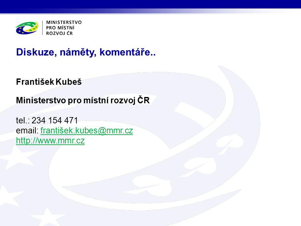 Diskuze, náměty, komentáře.. František Kubeš Ministerstvo pro místní rozvoj ČR tel.: 234 154 471 email: františek.kubes@mmr.cz http://www.mmr.czfranti