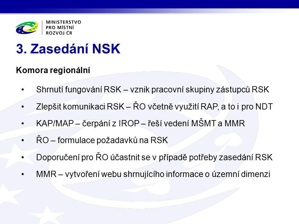 Komora regionální Shrnutí fungování RSK – vznik pracovní skupiny zástupců RSK Zlepšit komunikaci RSK – ŘO včetně využití RAP, a to i pro NDT KAP/MAP – čerpání z IROP – řeší vedení MŠMT a MMR ŘO – formulace požadavků na RSK Doporučení pro ŘO účastnit se v případě potřeby zasedání RSK MMR – vytvoření webu shrnujícího informace o územní dimenzi 3.