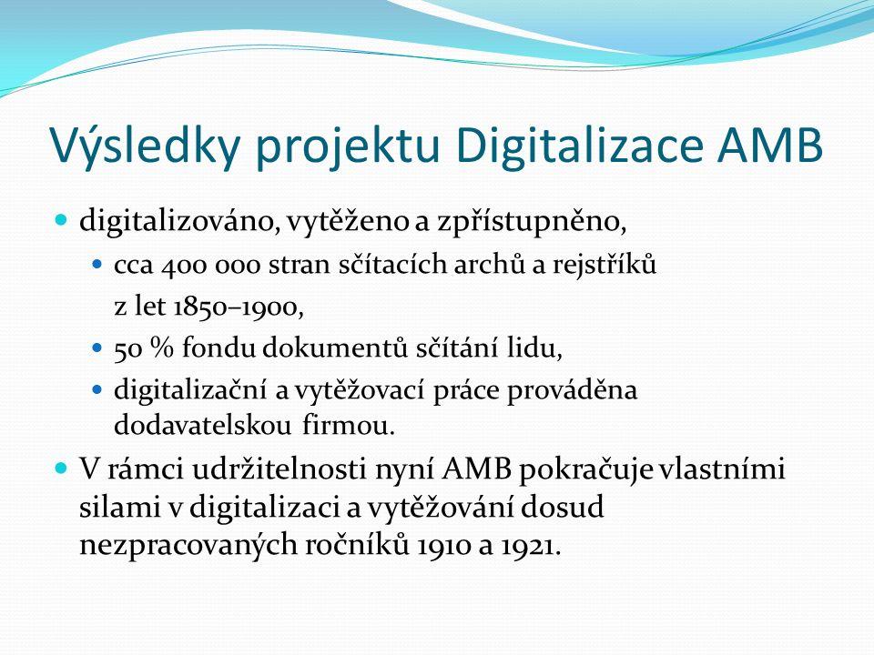 Výsledky projektu Digitalizace AMB digitalizováno, vytěženo a zpřístupněno, cca 400 000 stran sčítacích archů a rejstříků z let 1850–1900, 50 % fondu dokumentů sčítání lidu, digitalizační a vytěžovací práce prováděna dodavatelskou firmou.