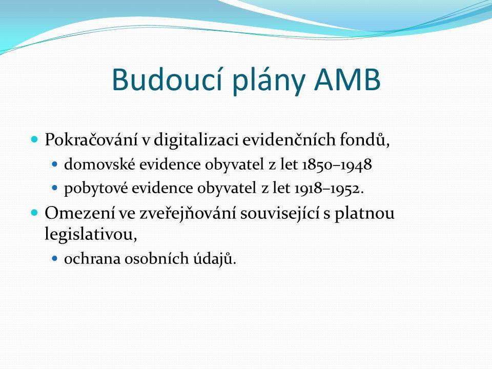 Budoucí plány AMB Pokračování v digitalizaci evidenčních fondů, domovské evidence obyvatel z let 1850–1948 pobytové evidence obyvatel z let 1918–1952.