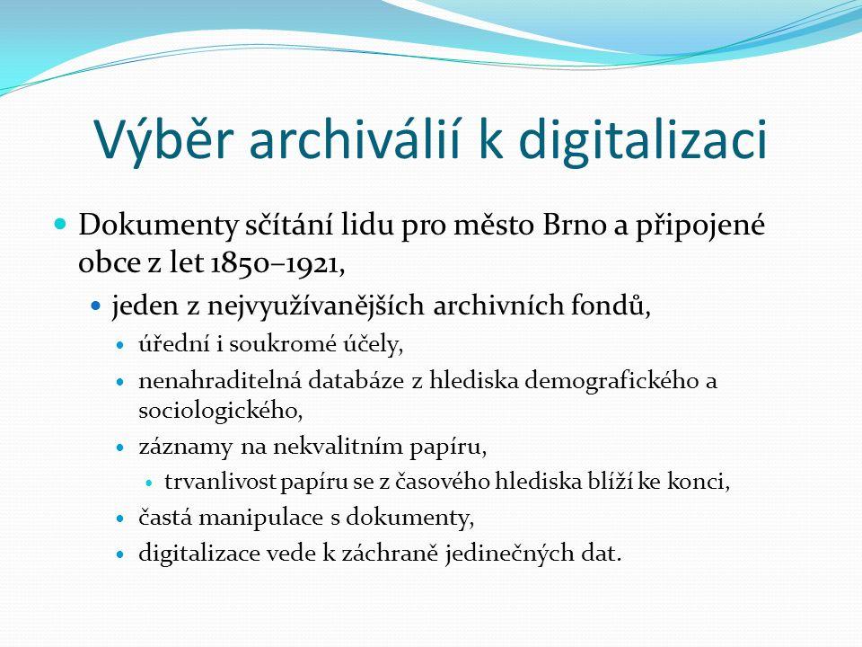 Výběr archiválií k digitalizaci Dokumenty sčítání lidu pro město Brno a připojené obce z let 1850–1921, jeden z nejvyužívanějších archivních fondů, úřední i soukromé účely, nenahraditelná databáze z hlediska demografického a sociologického, záznamy na nekvalitním papíru, trvanlivost papíru se z časového hlediska blíží ke konci, častá manipulace s dokumenty, digitalizace vede k záchraně jedinečných dat.