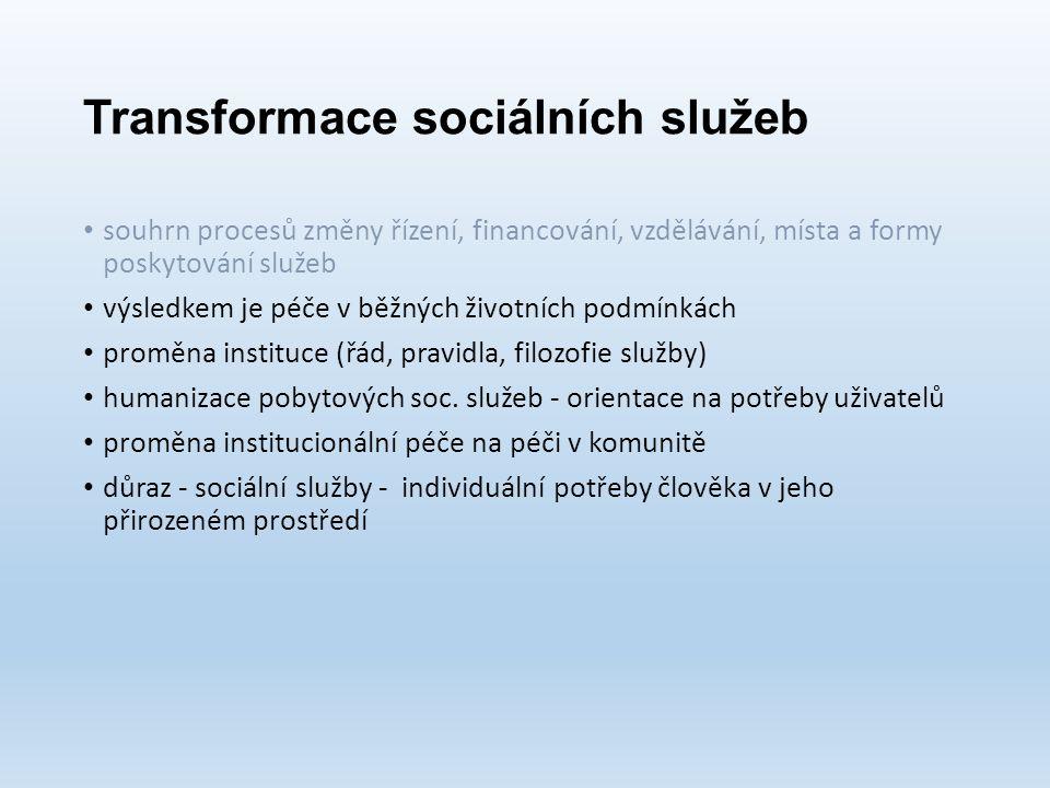 Transformace sociálních služeb souhrn procesů změny řízení, financování, vzdělávání, místa a formy poskytování služeb výsledkem je péče v běžných životních podmínkách proměna instituce (řád, pravidla, filozofie služby) humanizace pobytových soc.