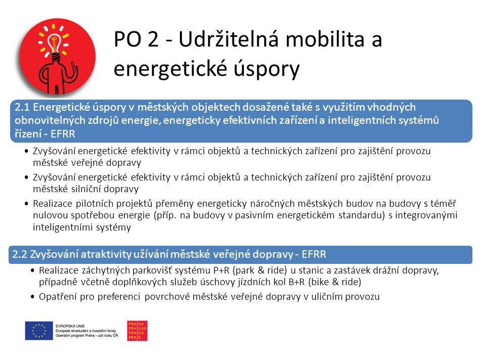 PO 2 - Udržitelná mobilita a energetické úspory 2.1 Energetické úspory v městských objektech dosažené také s využitím vhodných obnovitelných zdrojů energie, energeticky efektivních zařízení a inteligentních systémů řízení - EFRR Zvyšování energetické efektivity v rámci objektů a technických zařízení pro zajištění provozu městské veřejné dopravy Zvyšování energetické efektivity v rámci objektů a technických zařízení pro zajištění provozu městské silniční dopravy Realizace pilotních projektů přeměny energeticky náročných městských budov na budovy s téměř nulovou spotřebou energie (příp.