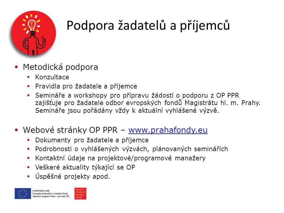  Metodická podpora  Konzultace  Pravidla pro žadatele a příjemce  Semináře a workshopy pro přípravu žádostí o podporu z OP PPR zajišťuje pro žadatele odbor evropských fondů Magistrátu hl.