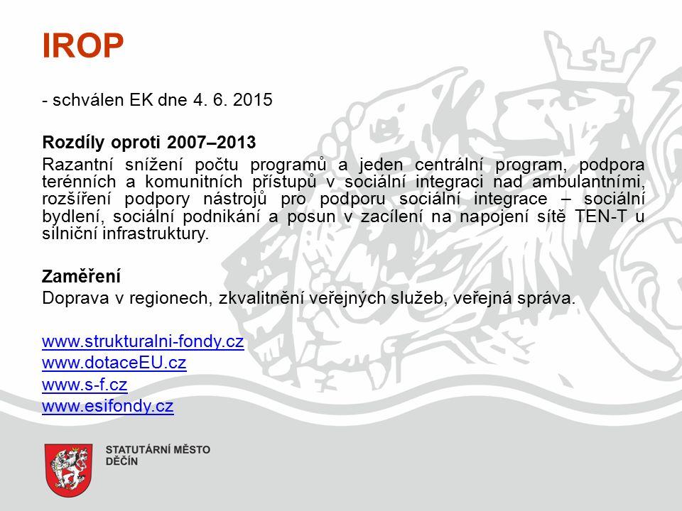 IROP - schválen EK dne 4.6.