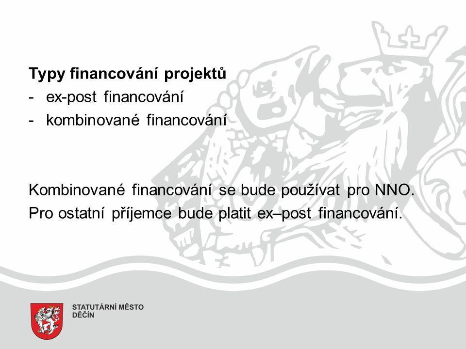 Typy financování projektů -ex-post financování -kombinované financování Kombinované financování se bude používat pro NNO.