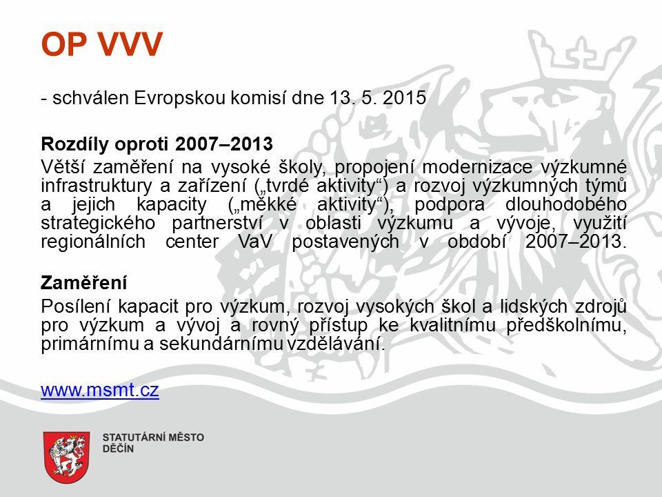 OP VVV - schválen Evropskou komisí dne 13. 5.