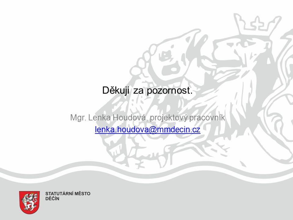 Děkuji za pozornost. Mgr. Lenka Houdová, projektový pracovník lenka.houdova@mmdecin.cz