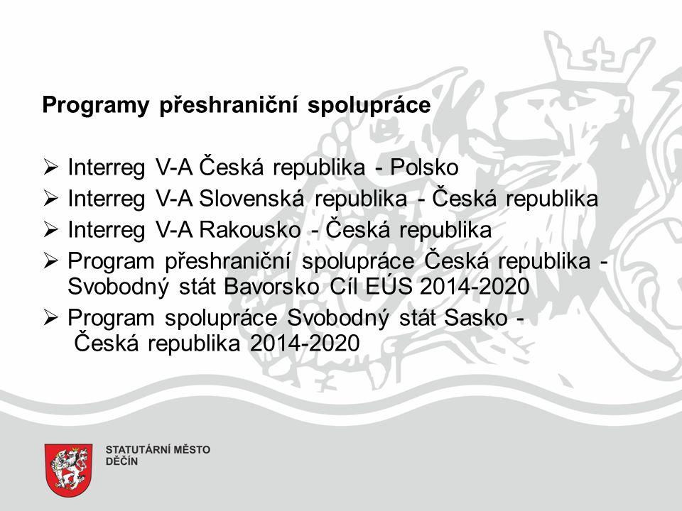 Programy přeshraniční spolupráce  Interreg V-A Česká republika - Polsko  Interreg V-A Slovenská republika - Česká republika  Interreg V-A Rakousko - Česká republika  Program přeshraniční spolupráce Česká republika - Svobodný stát Bavorsko Cíl EÚS 2014-2020  Program spolupráce Svobodný stát Sasko - Česká republika 2014-2020