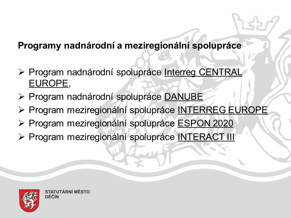 Programy nadnárodní a meziregionální spolupráce  Program nadnárodní spolupráce Interreg CENTRAL EUROPE,  Program nadnárodní spolupráce DANUBE  Program meziregionální spolupráce INTERREG EUROPE  Program meziregionální spolupráce ESPON 2020  Program meziregionální spolupráce INTERACT III