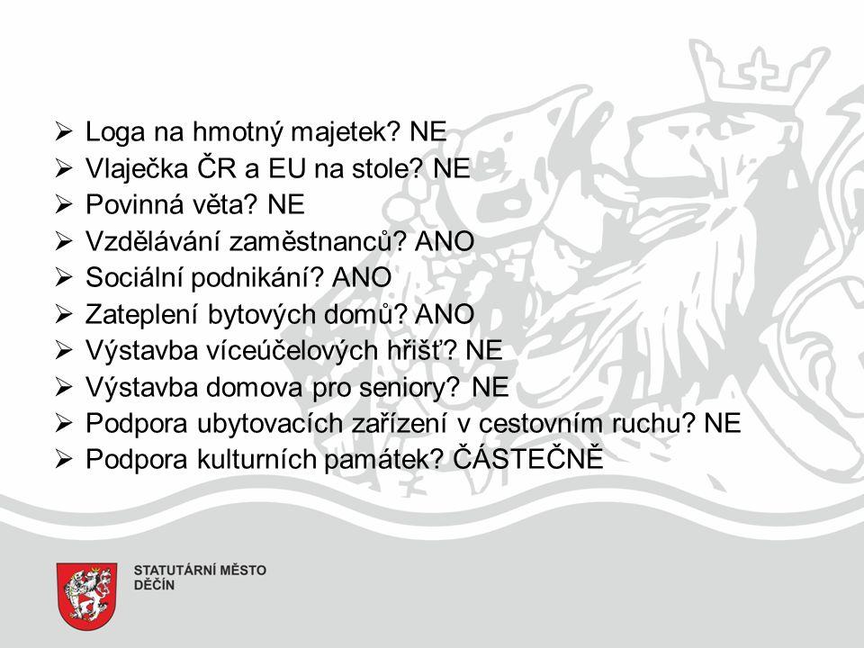  Loga na hmotný majetek. NE  Vlaječka ČR a EU na stole.