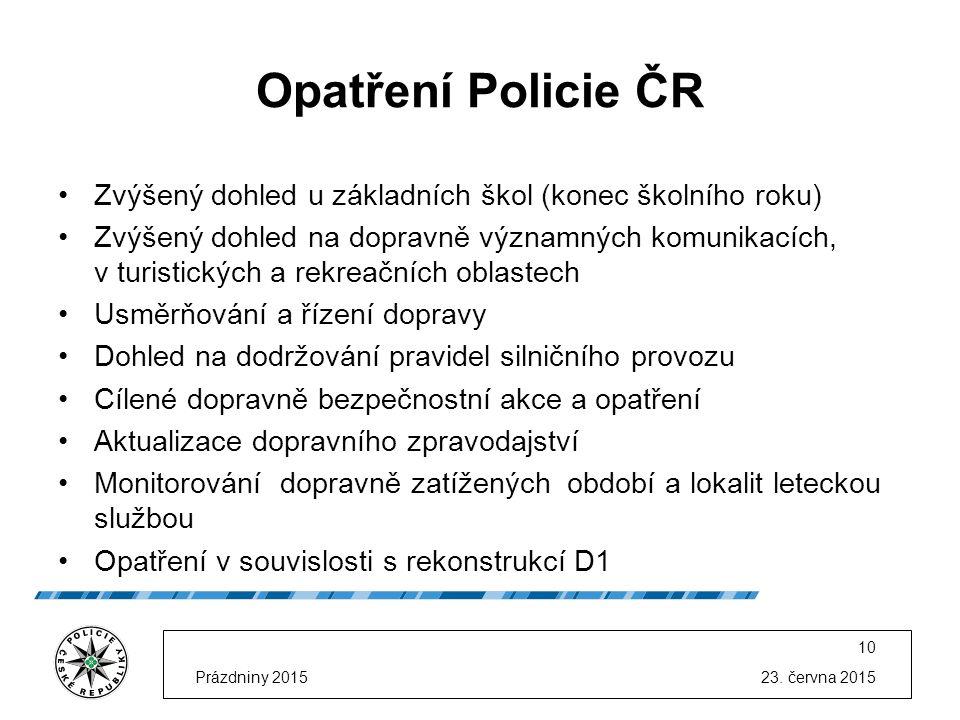 23. června 2015Prázdniny 2015 10 Opatření Policie ČR Zvýšený dohled u základních škol (konec školního roku) Zvýšený dohled na dopravně významných komu