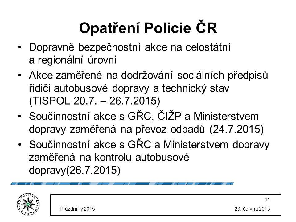 23. června 2015Prázdniny 2015 11 Opatření Policie ČR Dopravně bezpečnostní akce na celostátní a regionální úrovni Akce zaměřené na dodržování sociální
