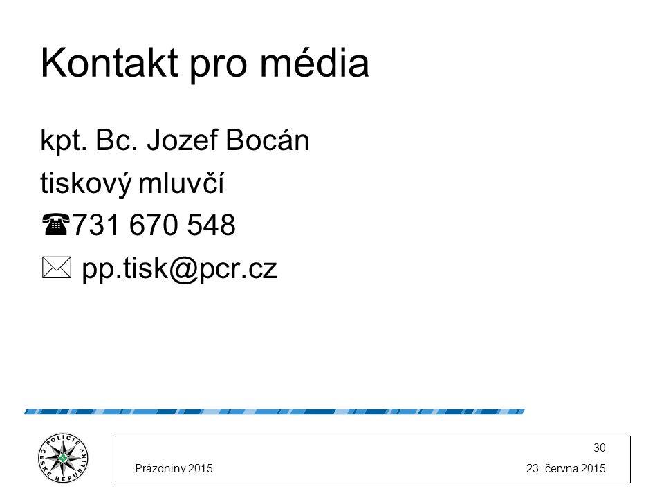 23. června 2015Prázdniny 2015 30 Kontakt pro média kpt.