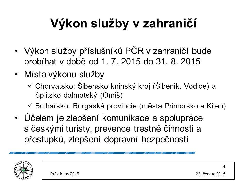 23. června 2015Prázdniny 2015 4 Výkon služby v zahraničí Výkon služby příslušníků PČR v zahraničí bude probíhat v době od 1. 7. 2015 do 31. 8. 2015 Mí