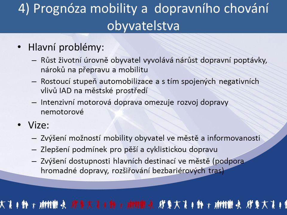 4) Prognóza mobility a dopravního chování obyvatelstva Hlavní problémy: – Růst životní úrovně obyvatel vyvolává nárůst dopravní poptávky, nároků na přepravu a mobilitu – Rostoucí stupeň automobilizace a s tím spojených negativních vlivů IAD na městské prostředí – Intenzivní motorová doprava omezuje rozvoj dopravy nemotorové Vize: – Zvýšení možností mobility obyvatel ve městě a informovanosti – Zlepšení podmínek pro pěší a cyklistickou dopravu – Zvýšení dostupnosti hlavních destinací ve městě (podpora hromadné dopravy, rozšiřování bezbariérových tras)