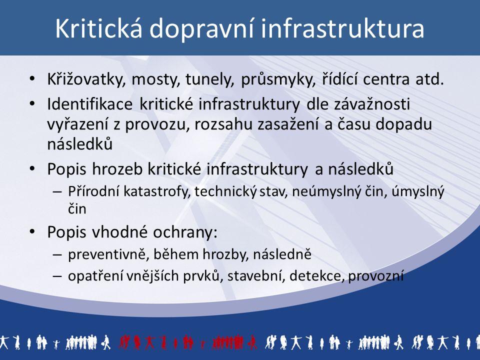 Kritická dopravní infrastruktura Křižovatky, mosty, tunely, průsmyky, řídící centra atd.