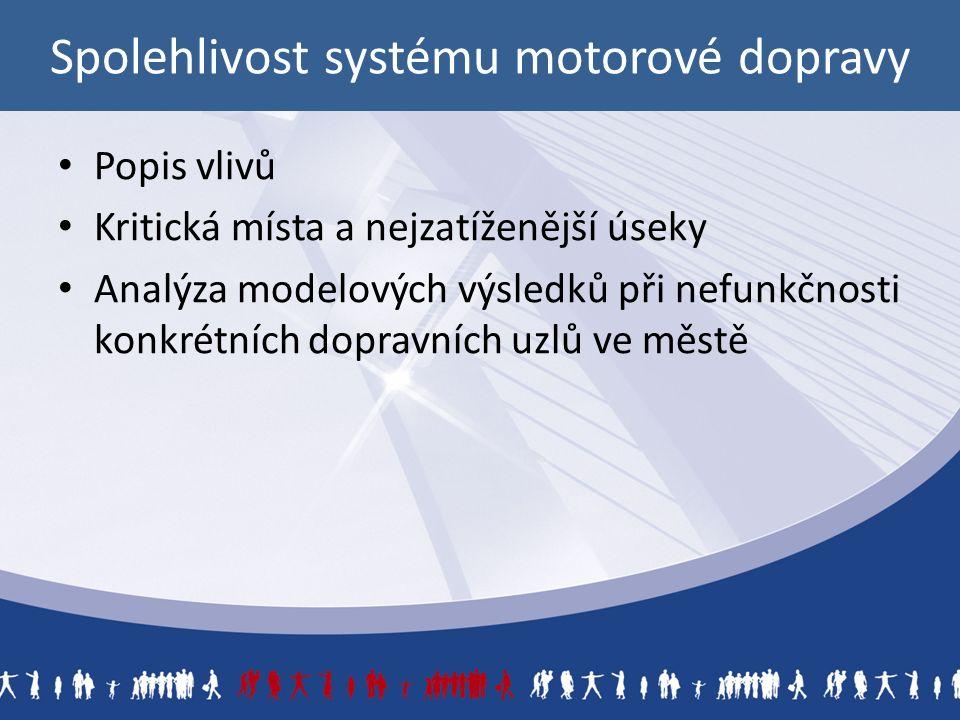Spolehlivost systému motorové dopravy Popis vlivů Kritická místa a nejzatíženější úseky Analýza modelových výsledků při nefunkčnosti konkrétních dopravních uzlů ve městě