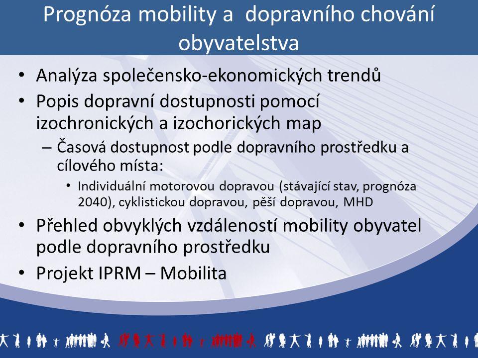 Prognóza mobility a dopravního chování obyvatelstva Analýza společensko-ekonomických trendů Popis dopravní dostupnosti pomocí izochronických a izochorických map – Časová dostupnost podle dopravního prostředku a cílového místa: Individuální motorovou dopravou (stávající stav, prognóza 2040), cyklistickou dopravou, pěší dopravou, MHD Přehled obvyklých vzdáleností mobility obyvatel podle dopravního prostředku Projekt IPRM – Mobilita