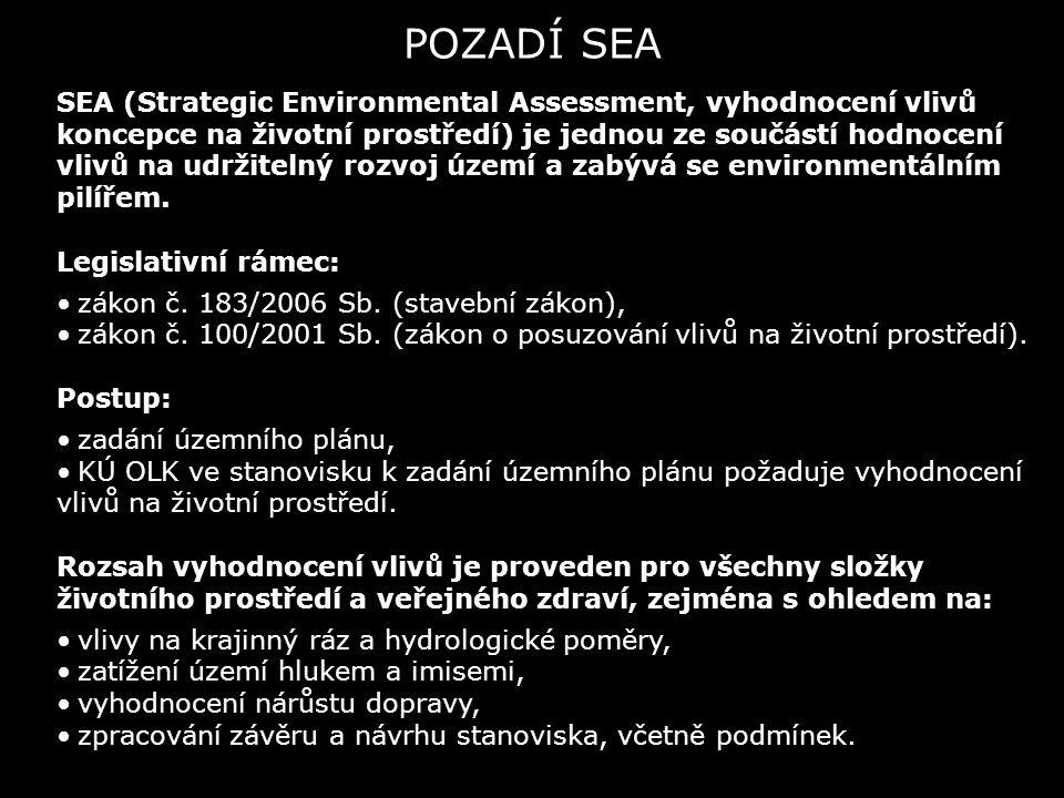 POZADÍ SEA SEA (Strategic Environmental Assessment, vyhodnocení vlivů koncepce na životní prostředí) je jednou ze součástí hodnocení vlivů na udržitelný rozvoj území a zabývá se environmentálním pilířem.