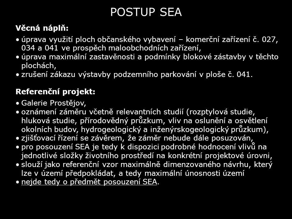 POSTUP SEA Věcná náplň: úprava využití ploch občanského vybavení – komerční zařízení č. 027, 034 a 041 ve prospěch maloobchodních zařízení, úprava max