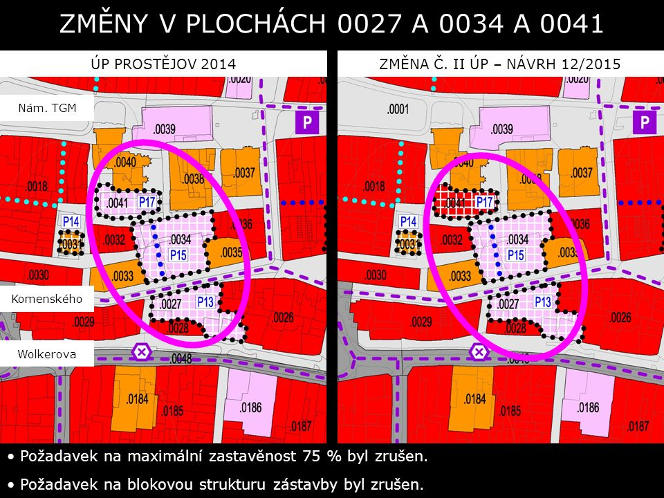 ÚP PROSTĚJOV 2014ZMĚNA Č. II ÚP – NÁVRH 12/2015 ZMĚNY V PLOCHÁCH 0027 A 0034 A 0041 Požadavek na maximální zastavěnost 75 % byl zrušen. Požadavek na b
