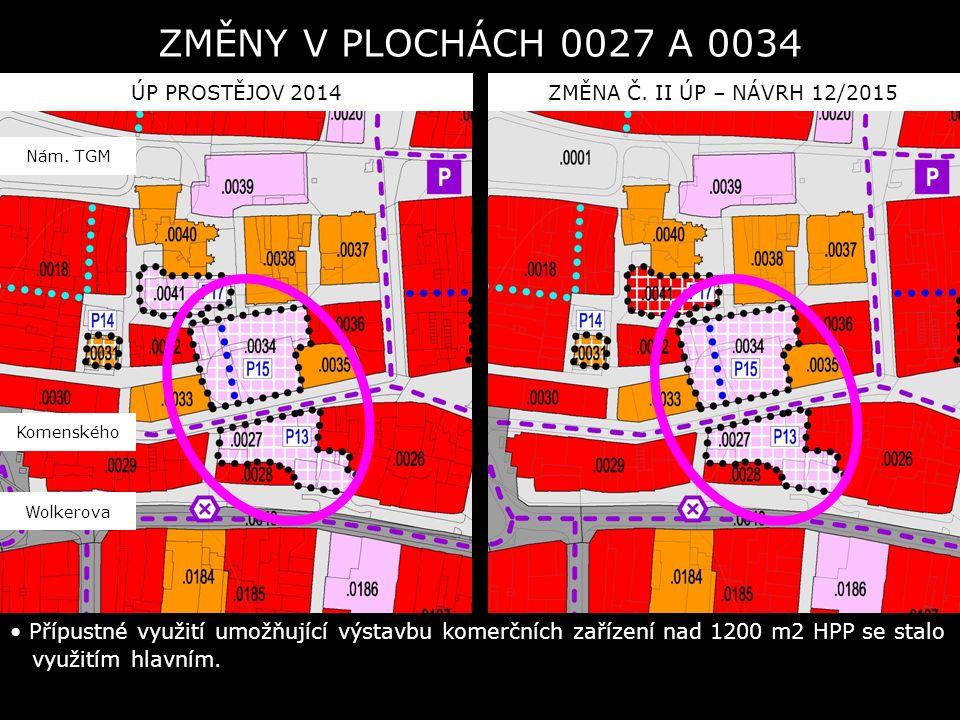 ÚP PROSTĚJOV 2014ZMĚNA Č. II ÚP – NÁVRH 12/2015 Přípustné využití umožňující výstavbu komerčních zařízení nad 1200 m2 HPP se stalo využitím hlavním. Z