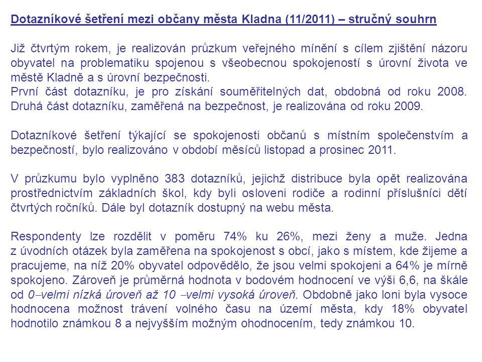 Dotazníkové šetření mezi občany města Kladna (11/2011) – stručný souhrn Již čtvrtým rokem, je realizován průzkum veřejného mínění s cílem zjištění názoru obyvatel na problematiku spojenou s všeobecnou spokojeností s úrovní života ve městě Kladně a s úrovní bezpečnosti.