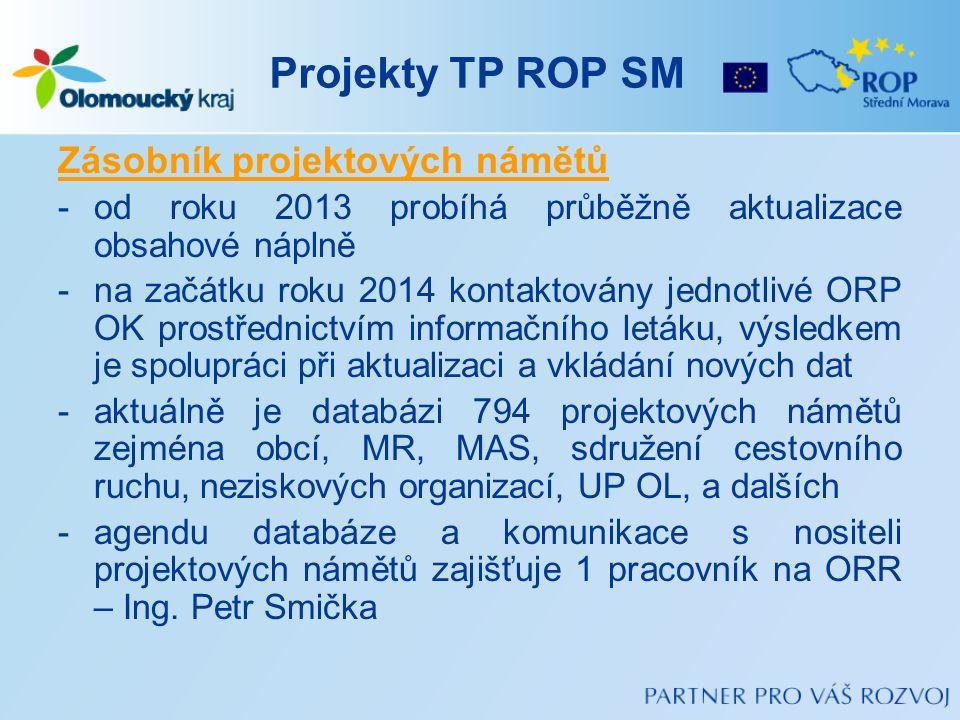Projekty TP ROP SM Zásobník projektových námětů -od roku 2013 probíhá průběžně aktualizace obsahové náplně -na začátku roku 2014 kontaktovány jednotli